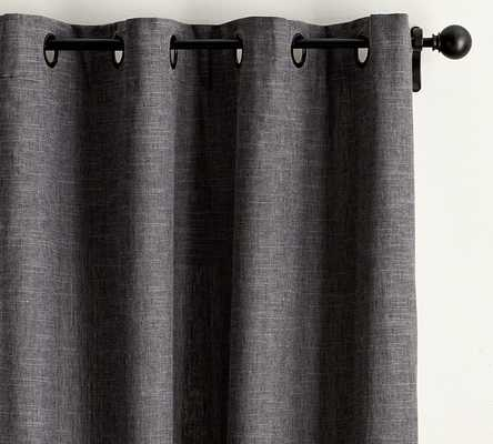 "Emery Linen Grommet Drape with Blackout, 50 x 84"", - Pottery Barn"