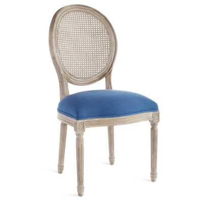 LOUIS CANE BACK SIDE CHAIR, LINEN ROYAL BLUE, NATURAL WEATHERED OAK - Wisteria
