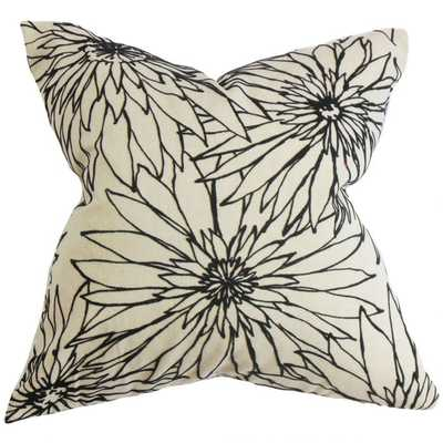 "Phedora Floral Pillow Black White-18""Sq-Down Insert - Linen & Seam"