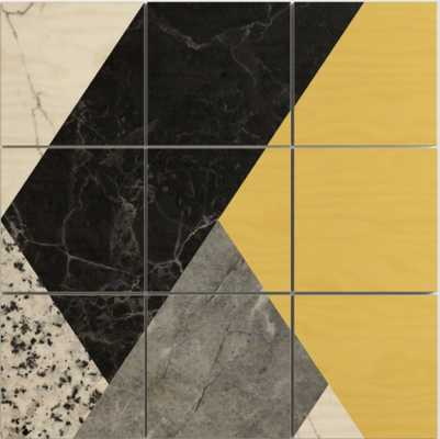 Black and White Marbles and Pantone Primrose Yellow Color Wood Wall Art 4 x 4 - Society6