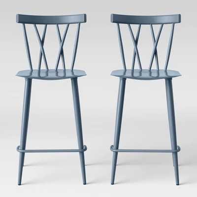 Set of 2 Becket Metal X Back Counter Stool Light Blue Blue - Project 62™ - Target