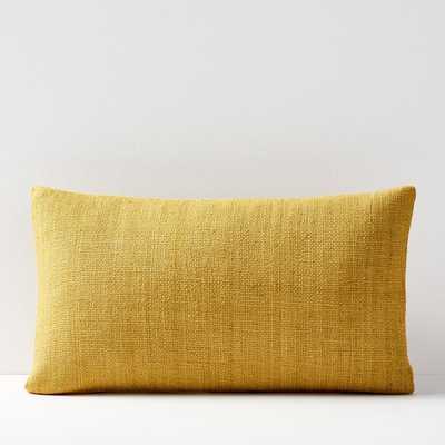 Silk Hand-Loomed Lumbar Pillow Cover - Horseradish - West Elm