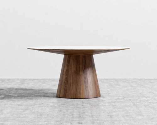 "Winston Dining Table - 48"" - Walnut Veneer High Gloss White Lacquer - Rove Concepts"
