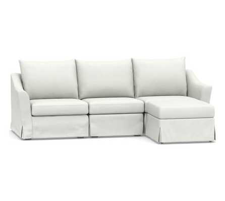 SoMa Brady Slope Arm Slipcovered 4-Piece Chaise Sectional, Polyester Wrapped Cushions, Basketweave Slub Ivory - Pottery Barn