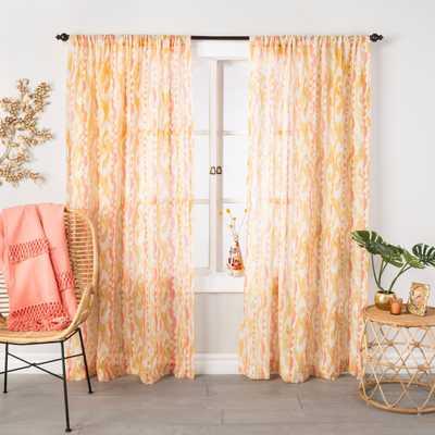 Ikat Sheer Curtain Panel Amber Yellow - Opalhouse™ - Target