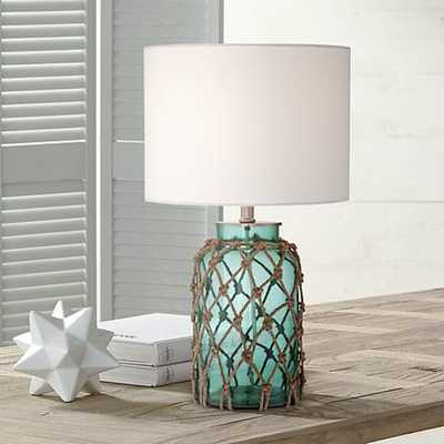 Crosby Blue-Green Bottle with Rope Glass Table Lamp - eBay