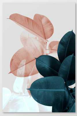 Blush & Blue Leaves Canvas Print 16 x 24 - Society6