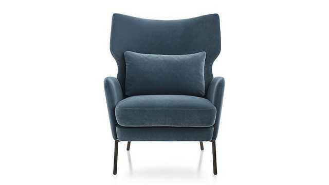 Alex Bordeaux Velvet Accent Chair- Classic Velvet, Navy Blue - Crate and Barrel