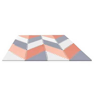 SKIP*HOP® Playspot Chevron Geo Foam Tiles in Peach/Grey - Buy Buy Baby