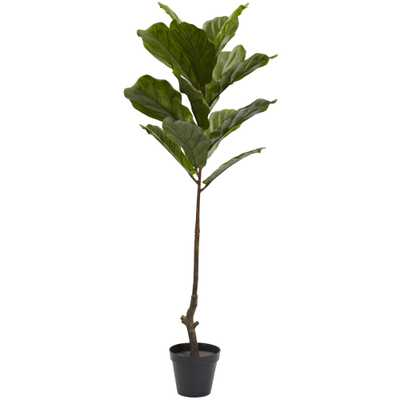 Faux Fiddle Leaf Tree, 4' - Fiddle + Bloom