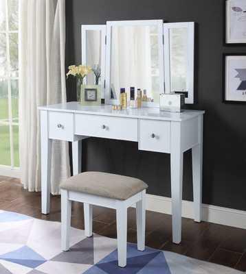 Serafino Vanity Set with Mirror, White - Wayfair