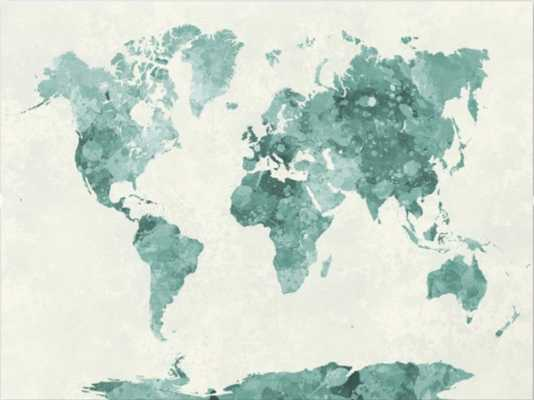 World map in watercolor green Canvas Print - Society6