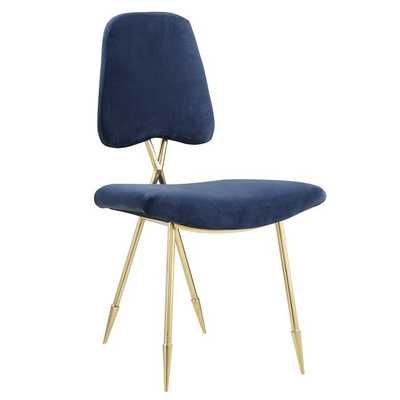 PONDER UPHOLSTERED VELVET DINING SIDE CHAIR IN NAVY - Modway Furniture