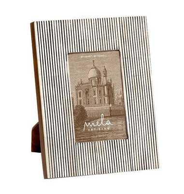 Pinstripe Photo Frame 4x6 in Black & White - Koa Artisans