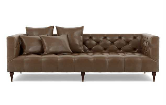 Ms. Chesterfield Leather Sofa in Pecan with Oiled Walnut Tapered Turned Wood - Interior Define
