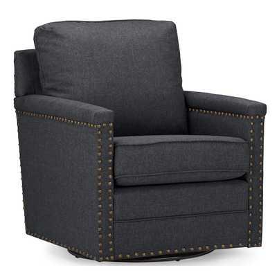 Modern and Contemporary Classic Retro Grey Fabric Upholstered Swivel Armchair - Lark Interiors