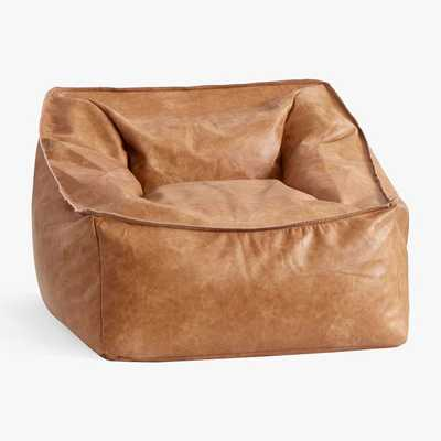 Vegan Leather Small Modern Lounger, Caramel - Pottery Barn Teen