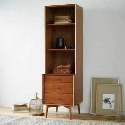 Mid-Century Bookcase with 3-Drawer Side Table (Acorn) - West Elm