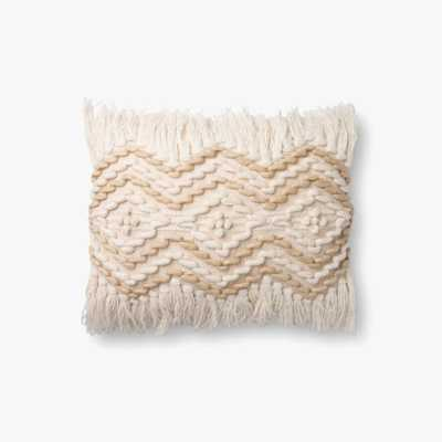 "Loloi PILLOWS P0857 Natural / Beige 13"" x 21"" Cover w/Poly - Loma Threads"
