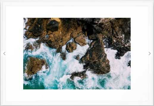 Ocean Waves Crushing On Rocky Landscape, Drone Photography, Aerial Landscape Photo, Ocean Wall Art Framed Art Print-Large Scoop white Frame - Society6