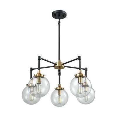 Elk Lighting Boudreaux 5 Light Chandelier, Matte Black/Antique Gold - Rosen Studio