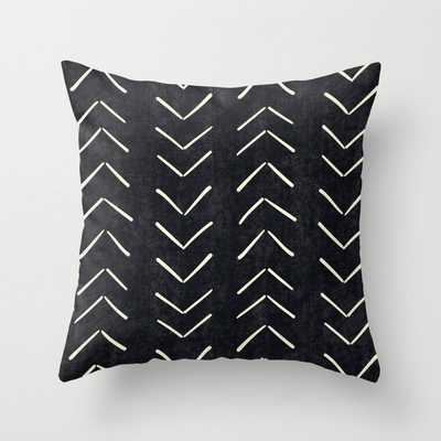 Mudcloth Big Arrows in Black and White Throw Pillow 18x18 w/insert - Society6