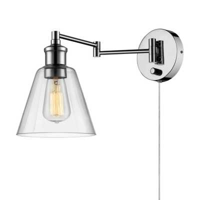 Globe Electric LeClair 1-Light Chrome Plug-In or Hardwire Industrial Wall Sconce - Home Depot