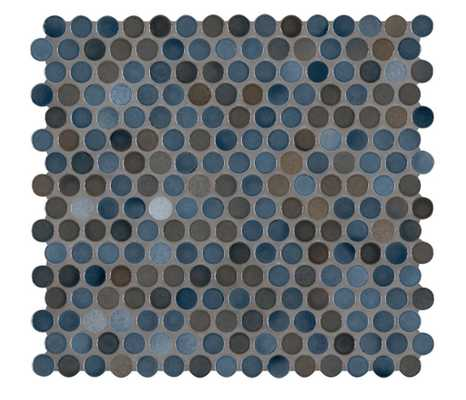Penny Round Azul 11.3 in. x 12.2 in. x 6mm Glossy Porcelain Mesh-Mounted Mosaic Tile (14.4 sq. ft. / case) - Home Depot