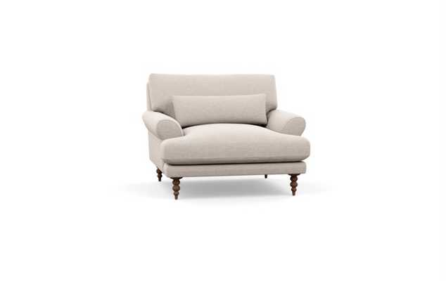 Maxwell Chair - Linen Pebble Weave - Oiled Walnut Tapered Turned Wood Leg - Interior Define