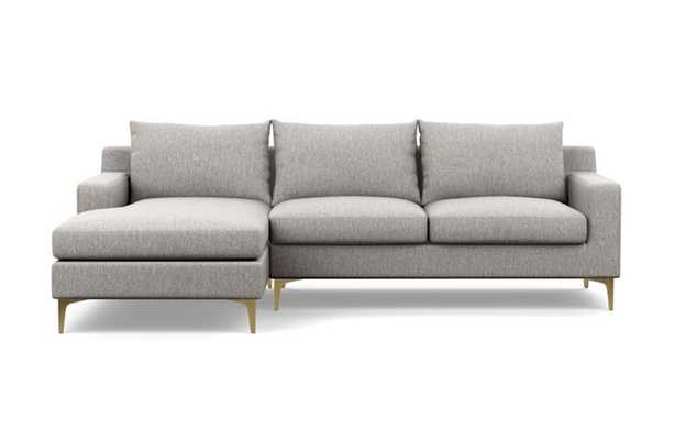"""SLOAN Sectional Sofa with Left Chaise in Earth with Brass Plated L Leg - 104"""" - Interior Define"""