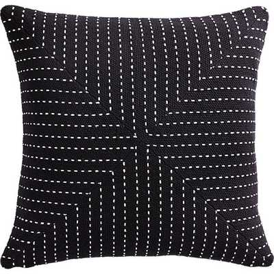 "20"" CLIQUE BLACK PILLOW WITH DOWN-ALTERNATIVE INSERT - CB2"