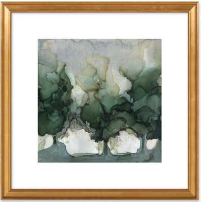 """River Trees - 22x22"""" - Gold Leaf Wood Frame with Matte - Artfully Walls"""