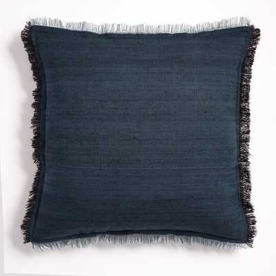 Textured Silk Fringe Pillow Cover - Shadow Blue - West Elm