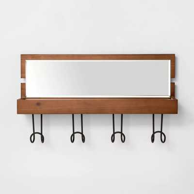 Entryway Wood Hook Rail With Shelf And Mirror Brown - Threshold - Target