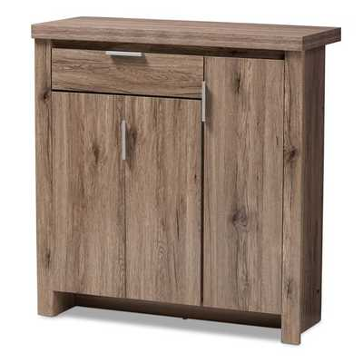 BAXTON STUDIO LAVERNE MODERN AND CONTEMPORARY OAK BROWN FINISHED SHOE CABINET - Lark Interiors