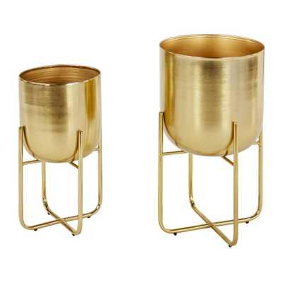 Sebasco 2-piece Round Indoor/Outdoor Metallic Gold Metal Planters Set by Havenside Home - Gold - Overstock