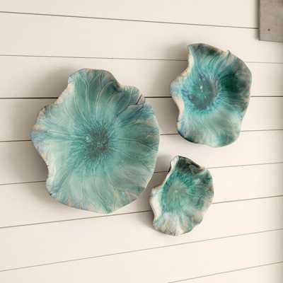 3 Piece Ceramic Flowers Wall Décor Set - Wayfair