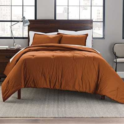 Garment Washed Cotton Solid Full/Queen Comforter Set in Spice - Bed Bath & Beyond