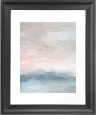 Blush Pink Mint Sky Baby Blue Abstract Ocean Sky Sunrise Wall Art - scoop black frame - Society6
