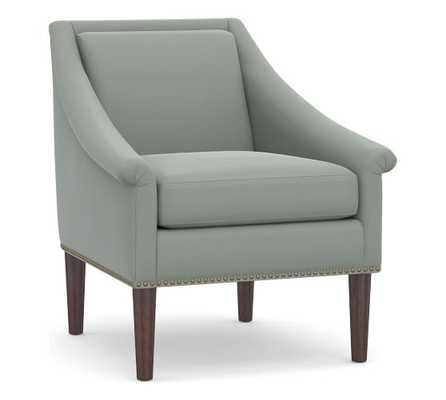 SoMa Valerie Upholstered Armchair, Polyester Wrapped Cushions, Performance Everydayvelvet™ , Steel - Pottery Barn