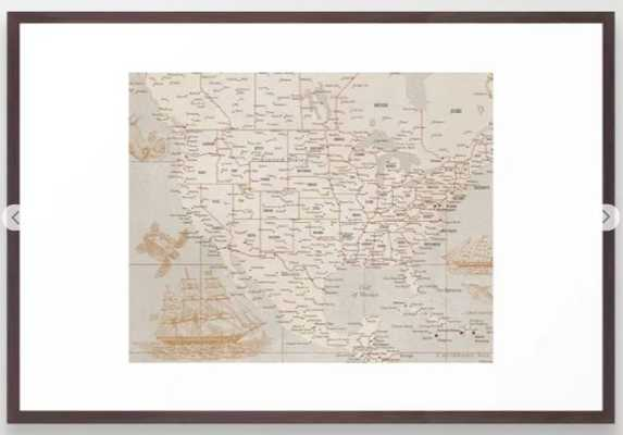 Vintage map of USA with sea monsters and sail ships Framed Art Print - Society6