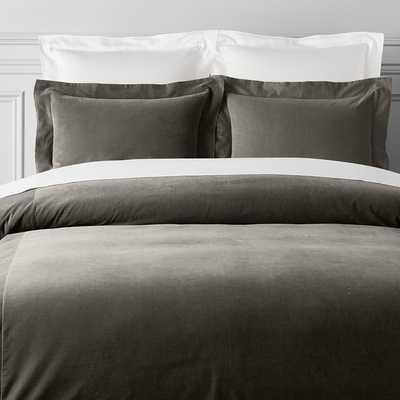 Classic Velvet Bedding, Sham, Euro, Grey - Williams Sonoma