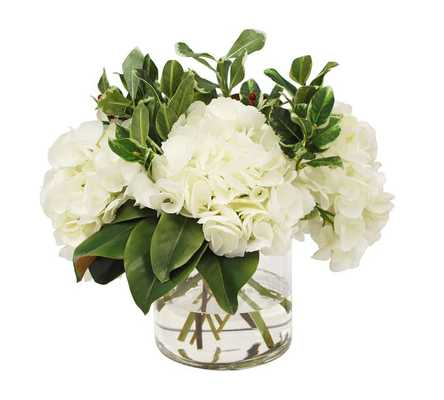 Faux Hydrangeas with Holly, White - Pottery Barn