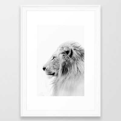 "Lion Print, Animal Prints, Black & White Photography Framed Art Print, Scoop White Frame, 15""x21"" - Society6"