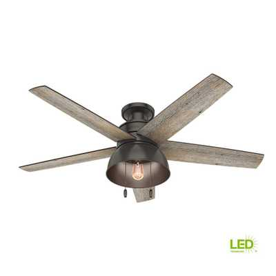 Bishop Hill 52 in. LED Indoor/Outdoor Noble Bronze Ceiling Fan with Light Kit - Home Depot