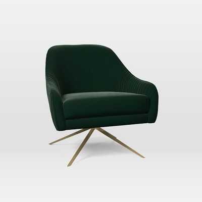 Roar + Rabbit Swivel Base Chair, Poly, Astor Velvet, Evergreen, Antique Brass - West Elm