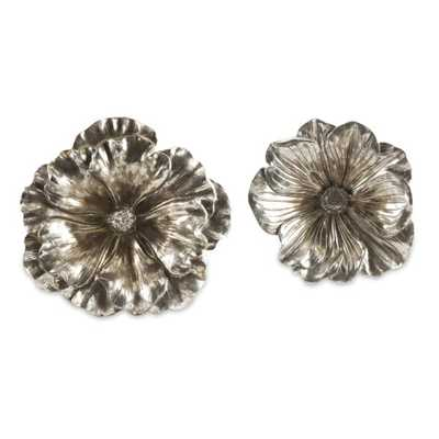 Natalia Stick Silver Flowers - Set of 2 - Mercer Collection