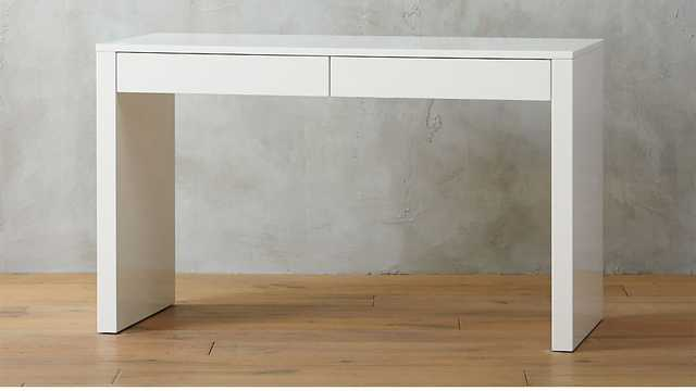 RUNWAY WHITE LACQUER DESK - CB2