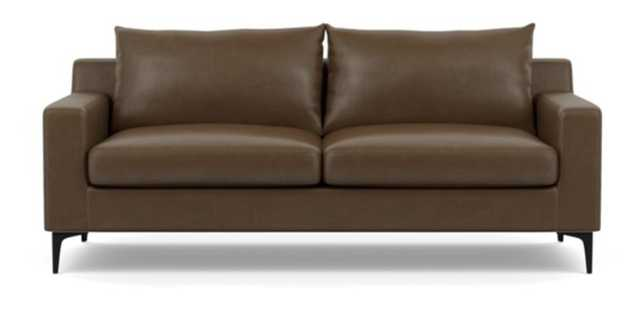 "SLOAN LEATHER Leather Sofa - pecan/ Matte Black Sloan L Leg/ 83""/ Down alt./ 43"" ottoman - Interior Define"