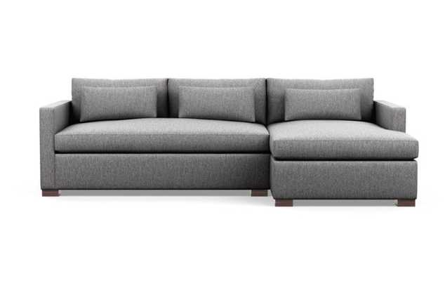 Charly Sleeper Sectional; Seed Cross Weave; Oiled Walnut Wood L Leg - Interior Define